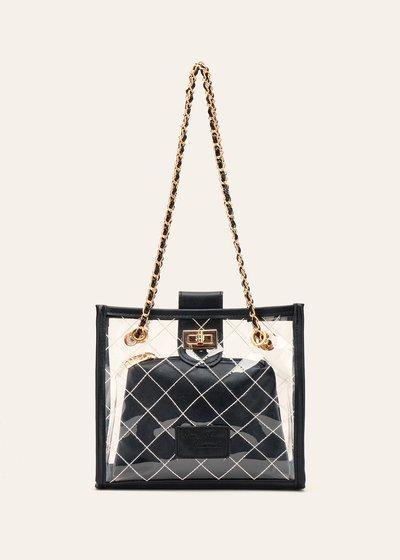 Beverly quilted vinyl handbag