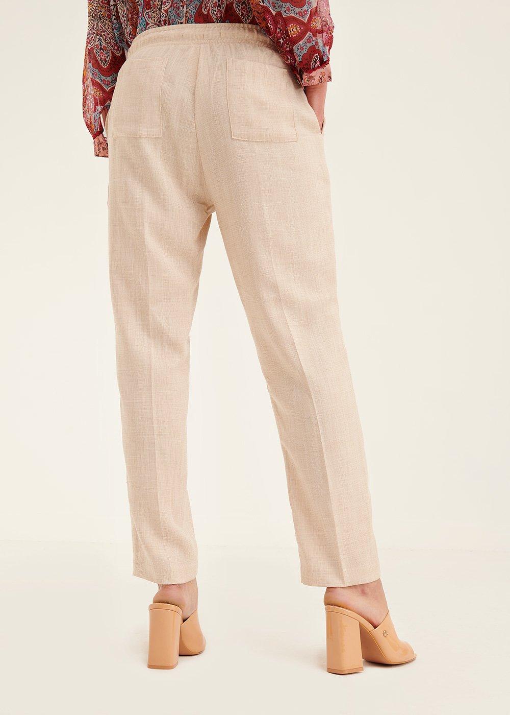 Pantalone Cara con elastico in vita - Light Beige - Donna