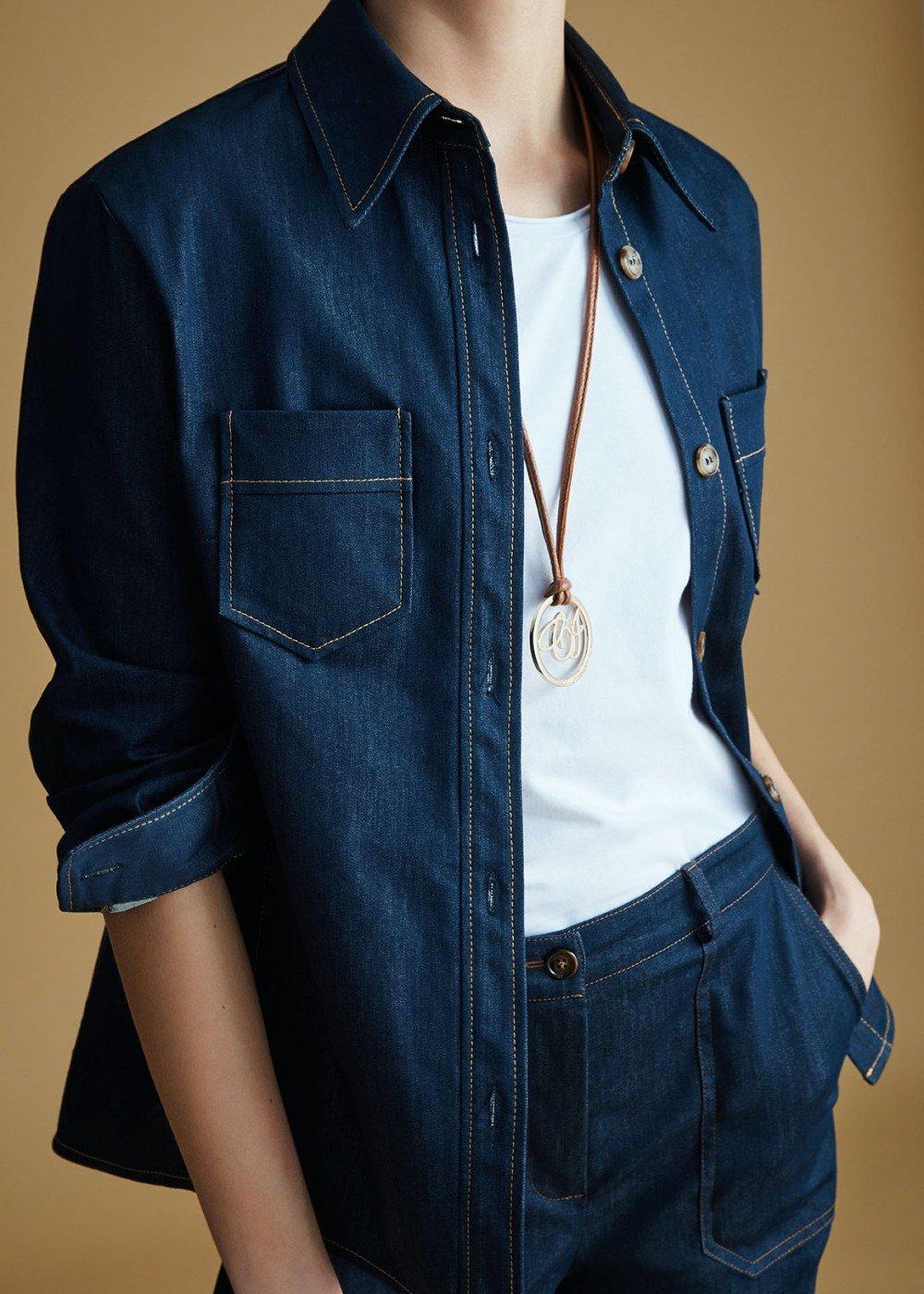 Kate shirt with contrasting stitching - Dark Denim - Woman