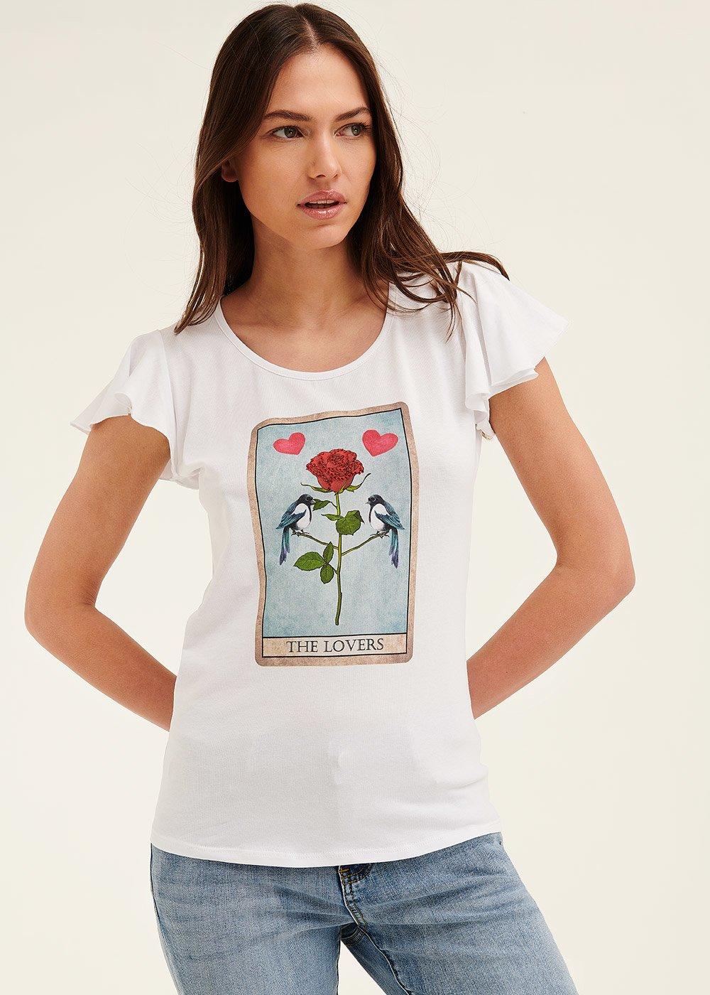 T-shirt Claudia con stampa cuore - White - Donna