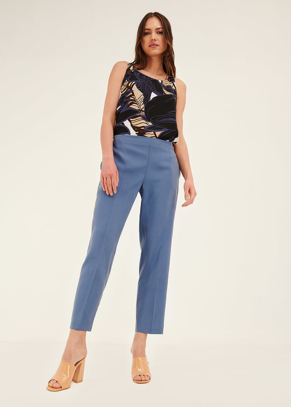 Cara trousers with elastic back - Blue - Woman