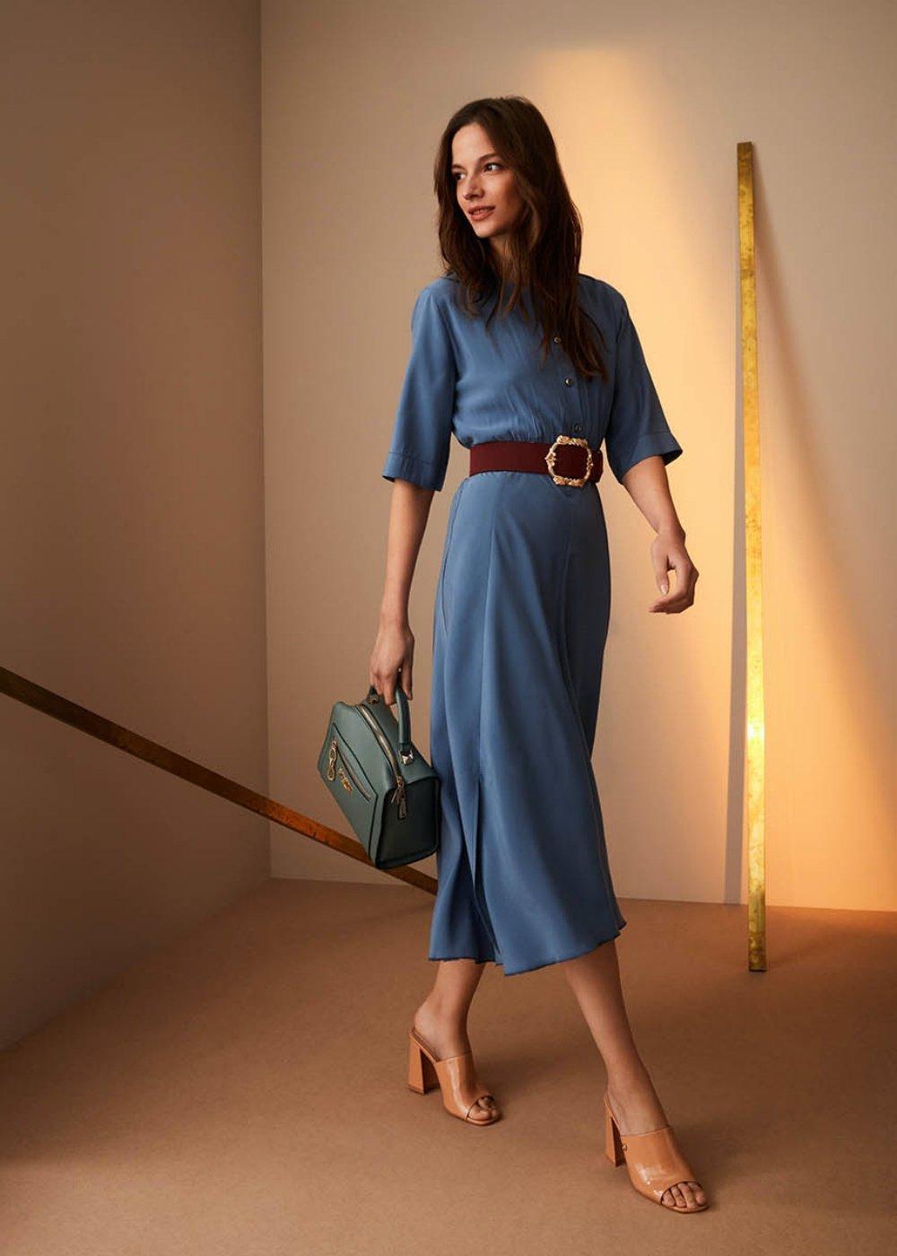 Jane dress with smock stitch - Blue - Woman