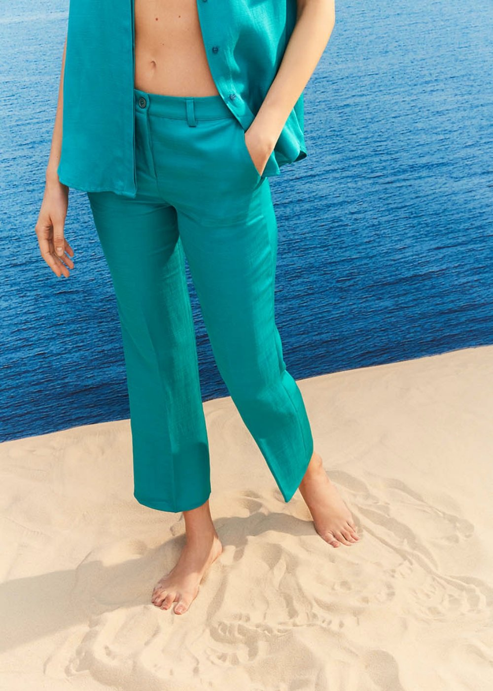 Jacquelib linen blend trousers - Water Blue - Woman