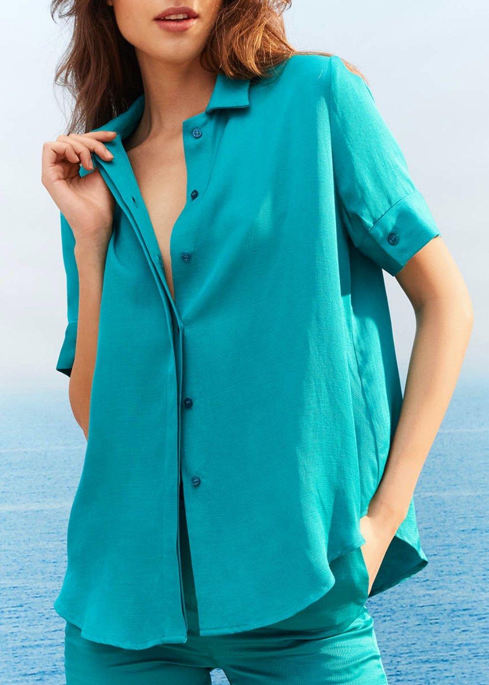 Camicia Chemise in misto lino - Turchese - Donna