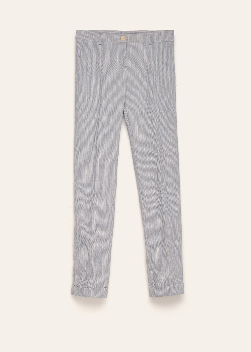 Bella cotton trousers with striped effect - Blue - Woman