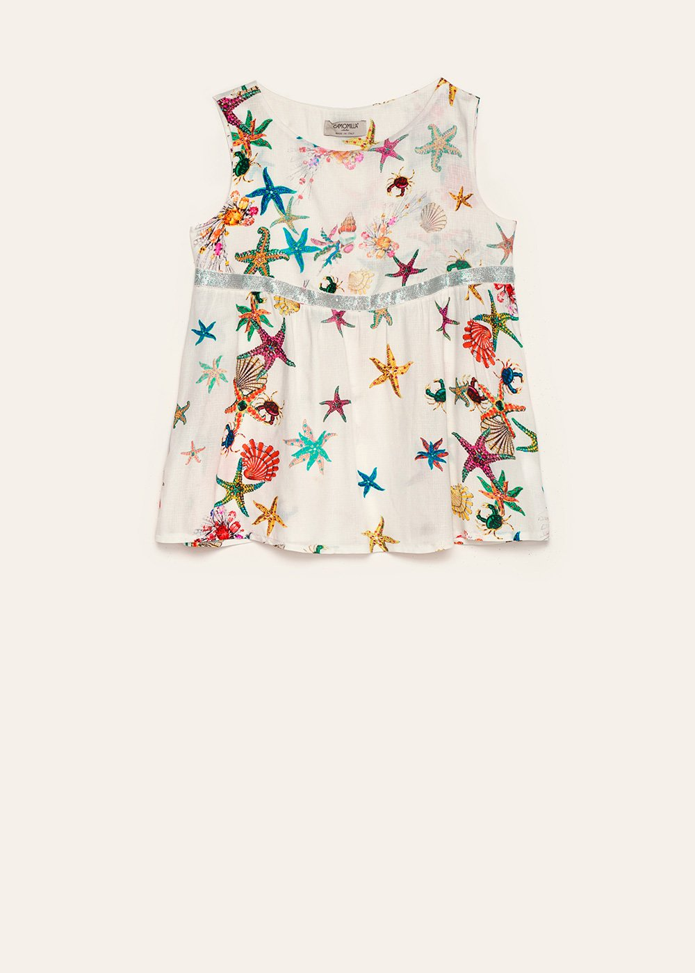 Tauri top with starfish pattern - White / Aragosta Fantasia - Woman