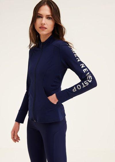 Fit sweatshirt with zip fastener