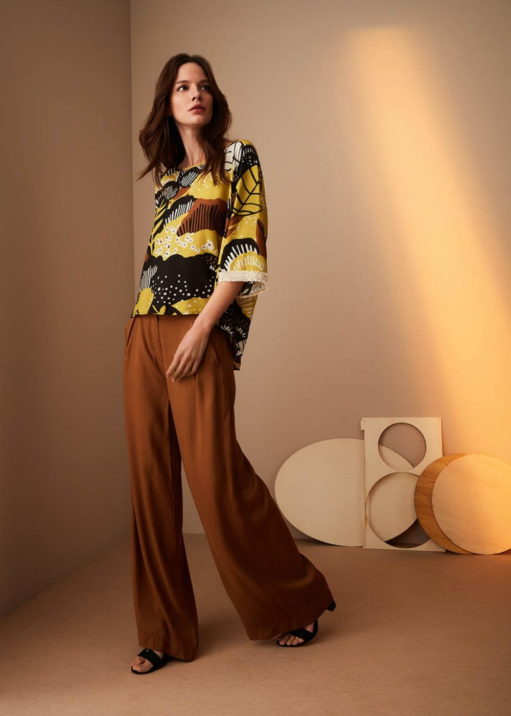 Pantalone Peonia con pinces - Terra - Donna