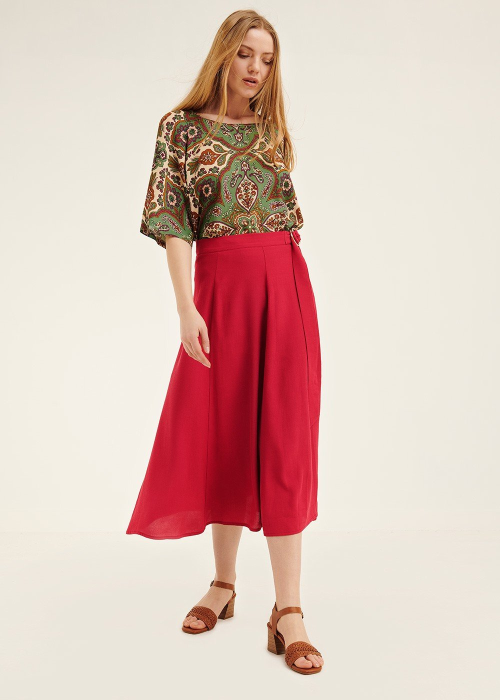 Geranio skirt with belt - Anemone - Woman