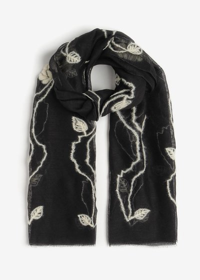 Saiq wool and silk scarf with embroidery
