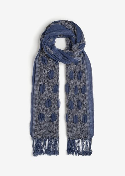 Shae, embossed scarf with pois print