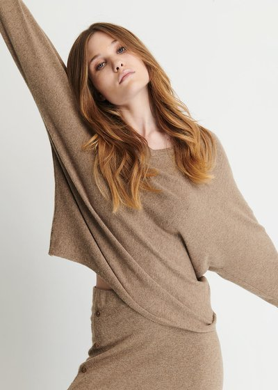 Marisa V-Neck Sweater with Batwing Sleeves