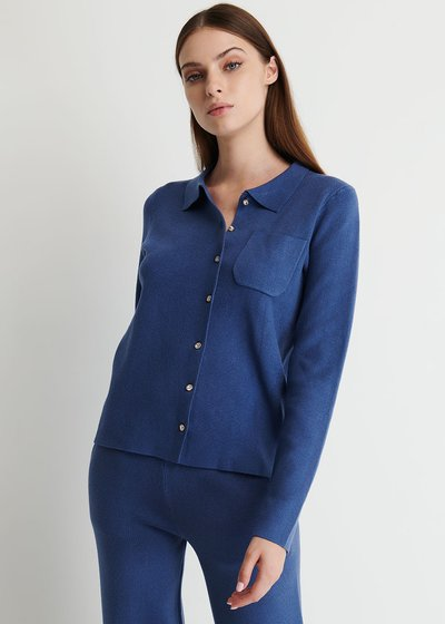 Caly Cardigan with Collar and Jewel Buttons
