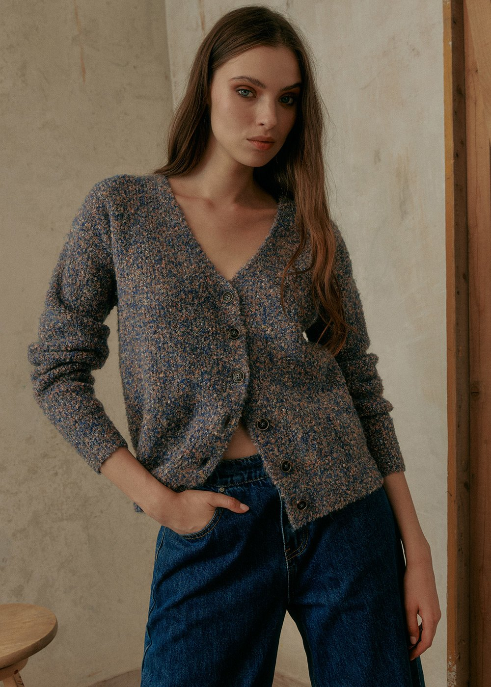 Claud Cardigan in Recycled Polyester - Blue - Woman