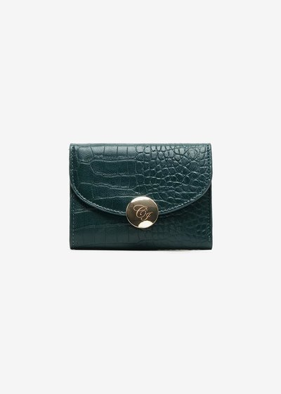 Wallet in crocodile print eco leather and logo decorated closure.