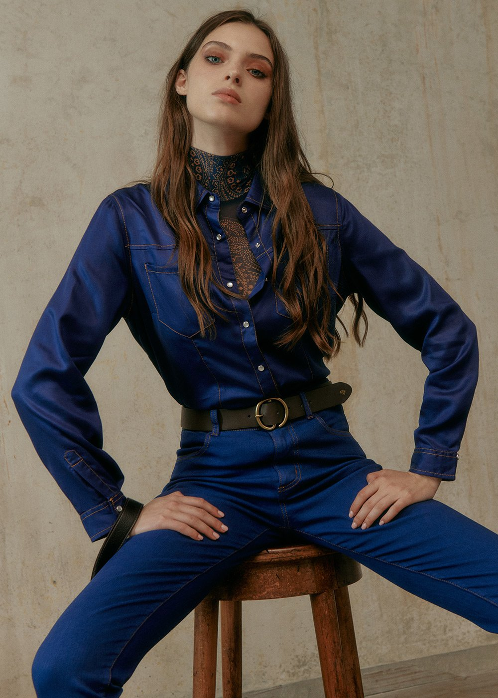 Calys Shirt with Collar and Snap Buttons - Blue - Woman