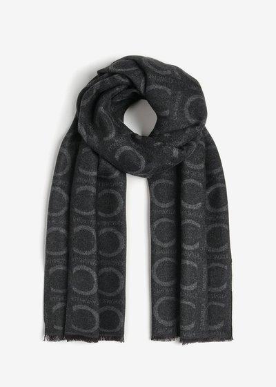 Sandra, bi-colors scarf with micro cashmere print.