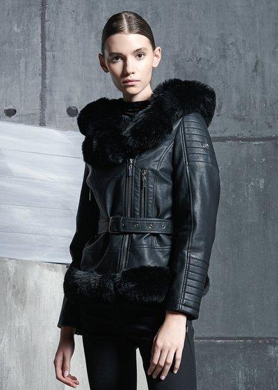 Gomez Faux Leather Jacket with Asymmetrical Zip
