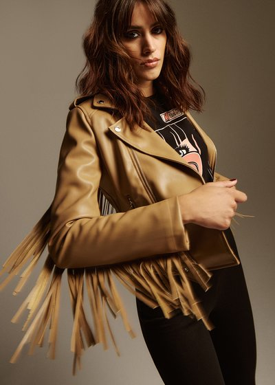 Galdric Short Faux Leather Jacket with Asymmetrical Zip and Fringes