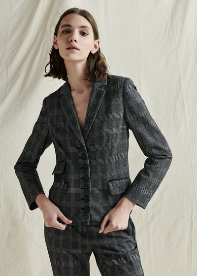 Gabriela Slim Fit Jacket with Check Pattern