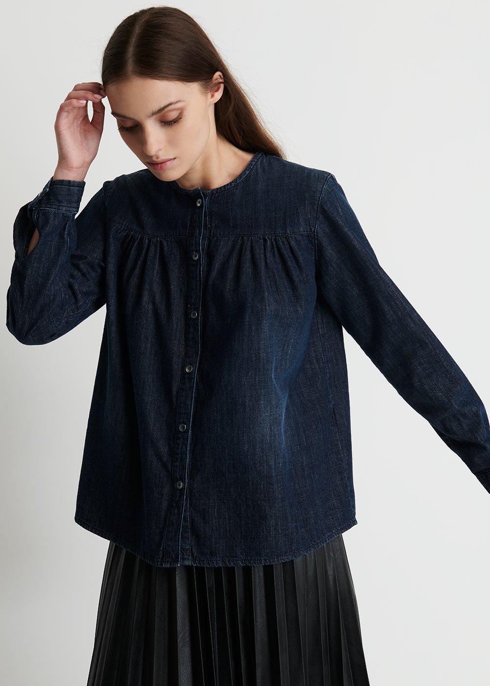 Camilla Denim Crewneck Shirt with Pince - Dark Denim - Woman