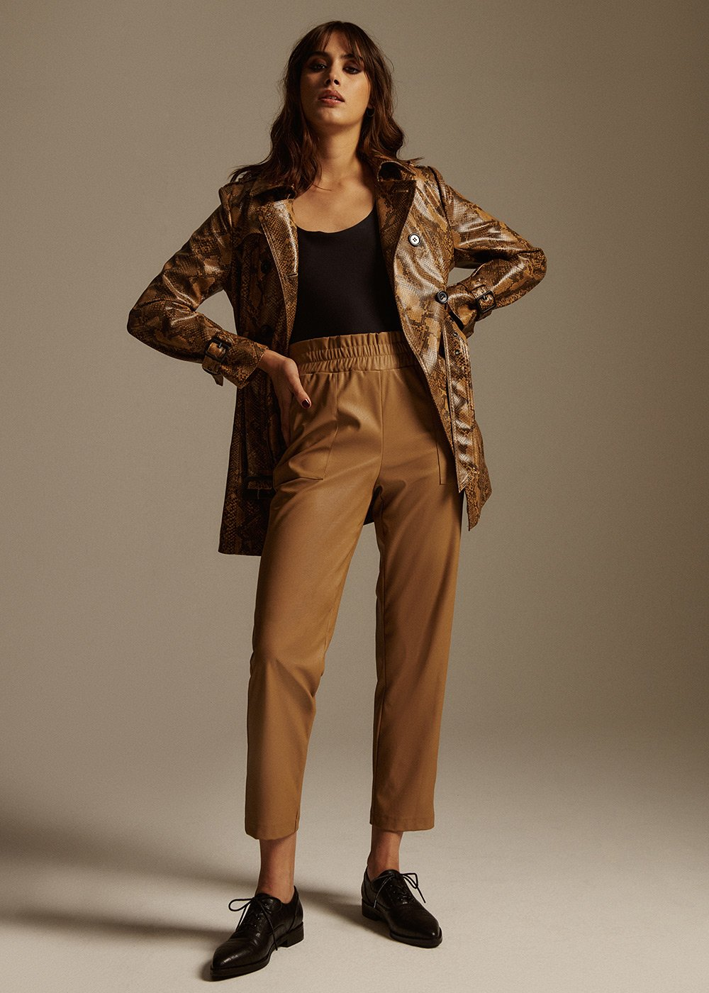 Patrick Eco-leather Trousers in Black - Beige - Woman