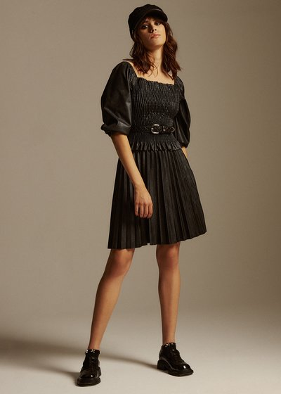 Gemma short skirt in pleated eco leather