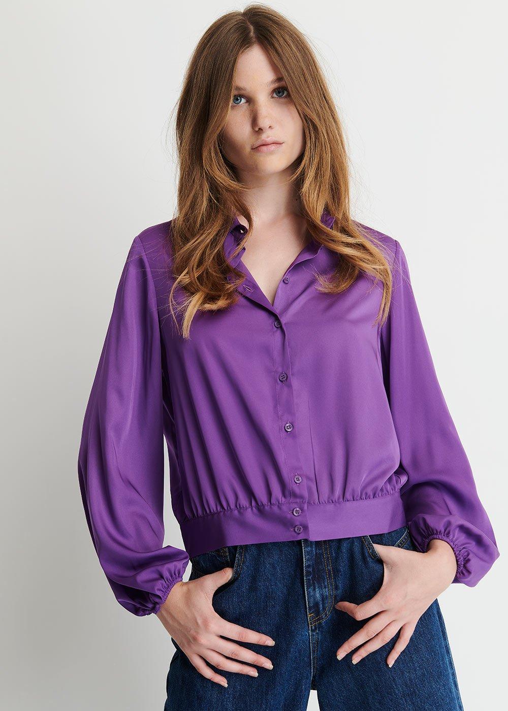 Camicia Caroline in Satin - Violet - Donna