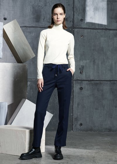 Alice Flannel Straight Leg Trousers in Blue