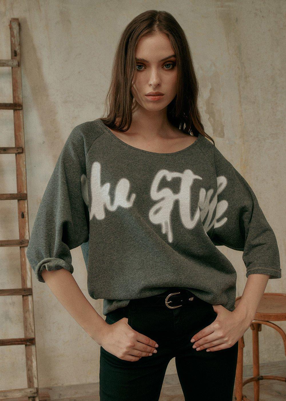 T-shirt Shay in Felpa - Grey Melange - Donna