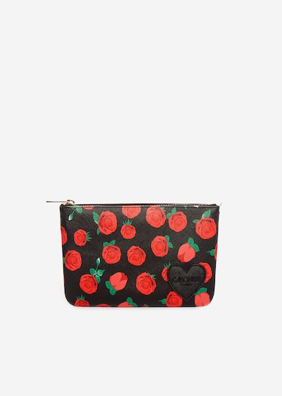 Faux leather Tonga bag roses clutch with heart detail