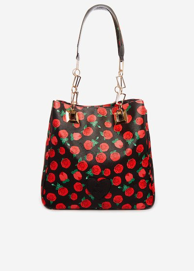 Miss roses faux leather mini bag with chain handles