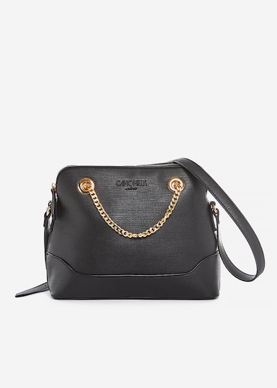 Brigida faux leather crossbody bag with gold chain detail.