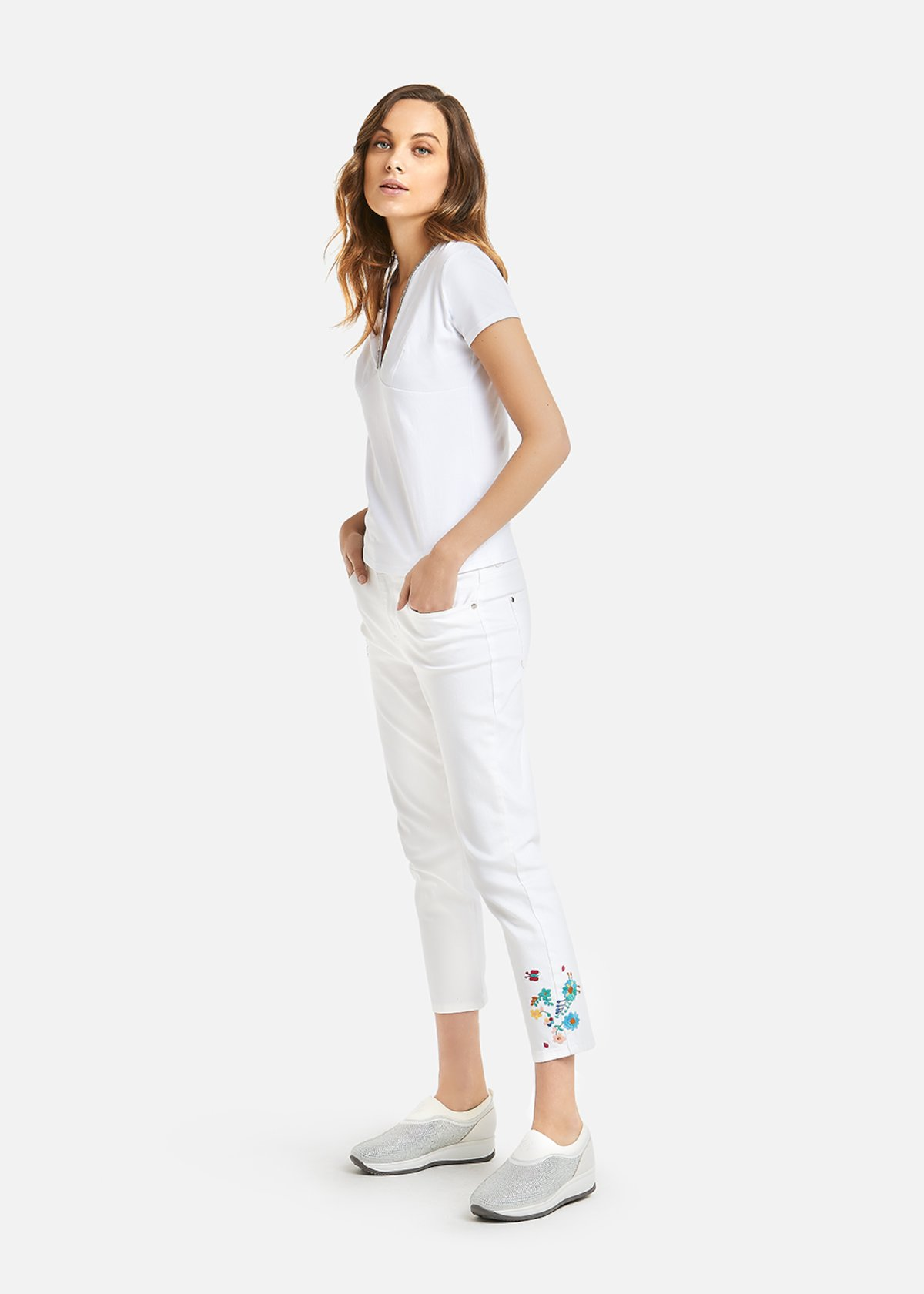 Poly trousers with floral embroidery - Bianco