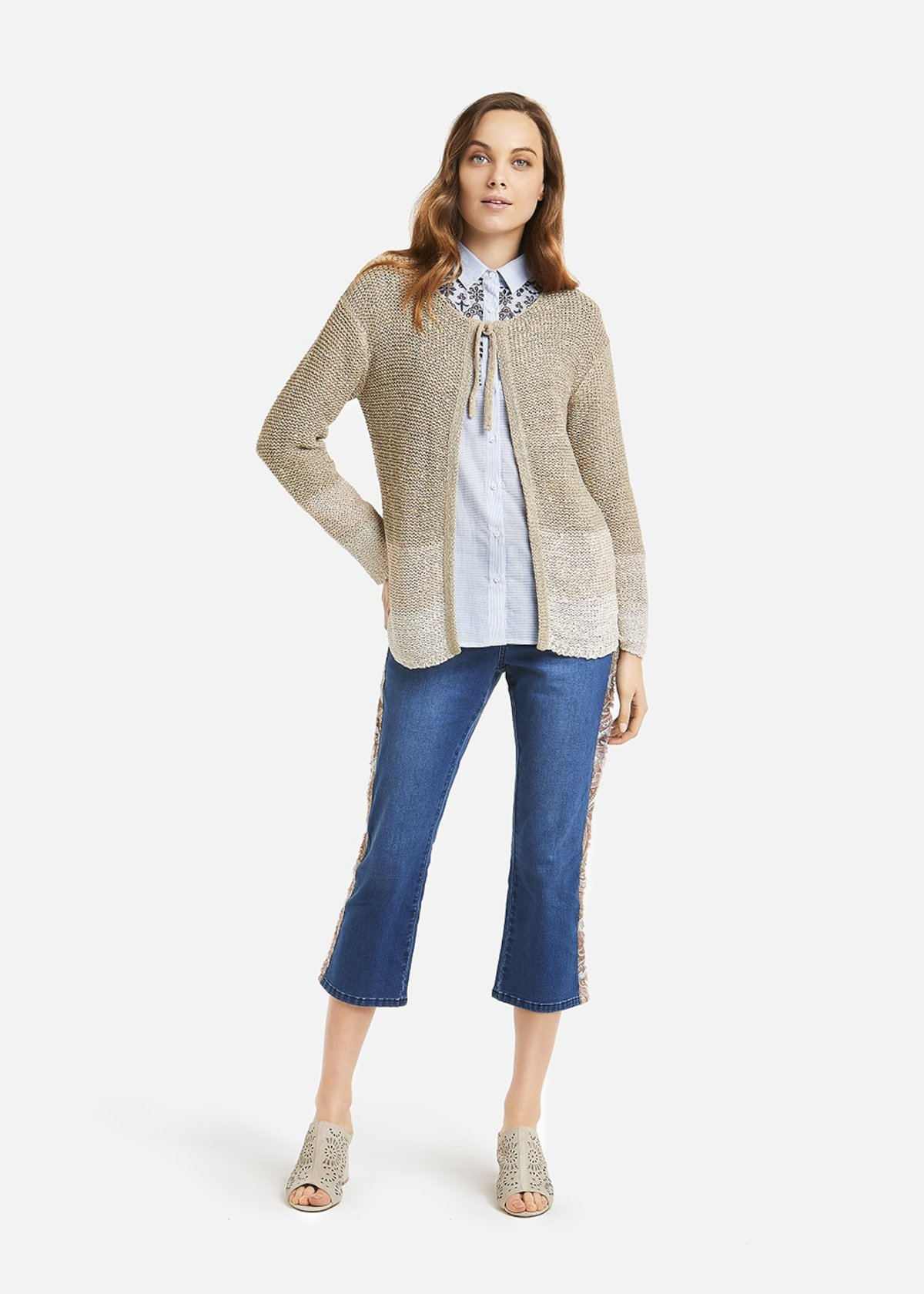 Cardigan Caddy shade details  with bow - Beige