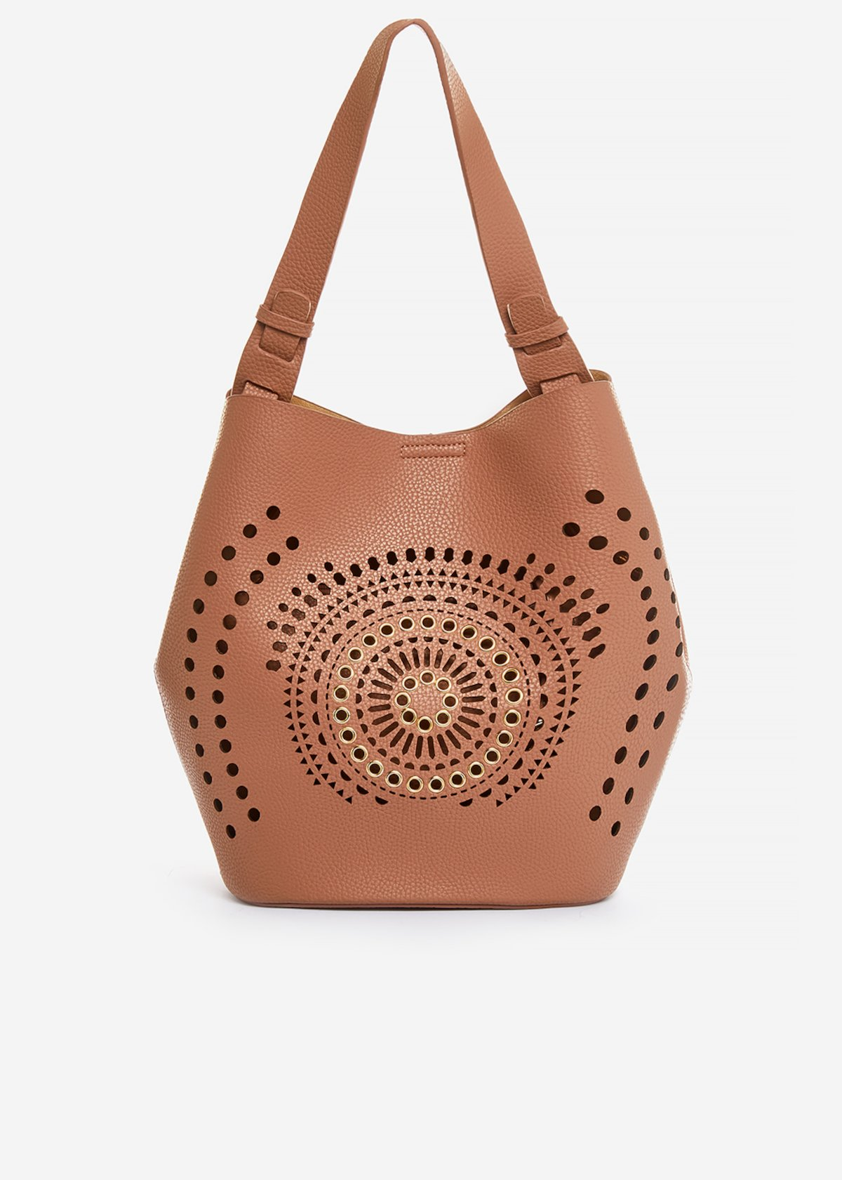 Ballie perforated faux leather bucket - Caffelatte