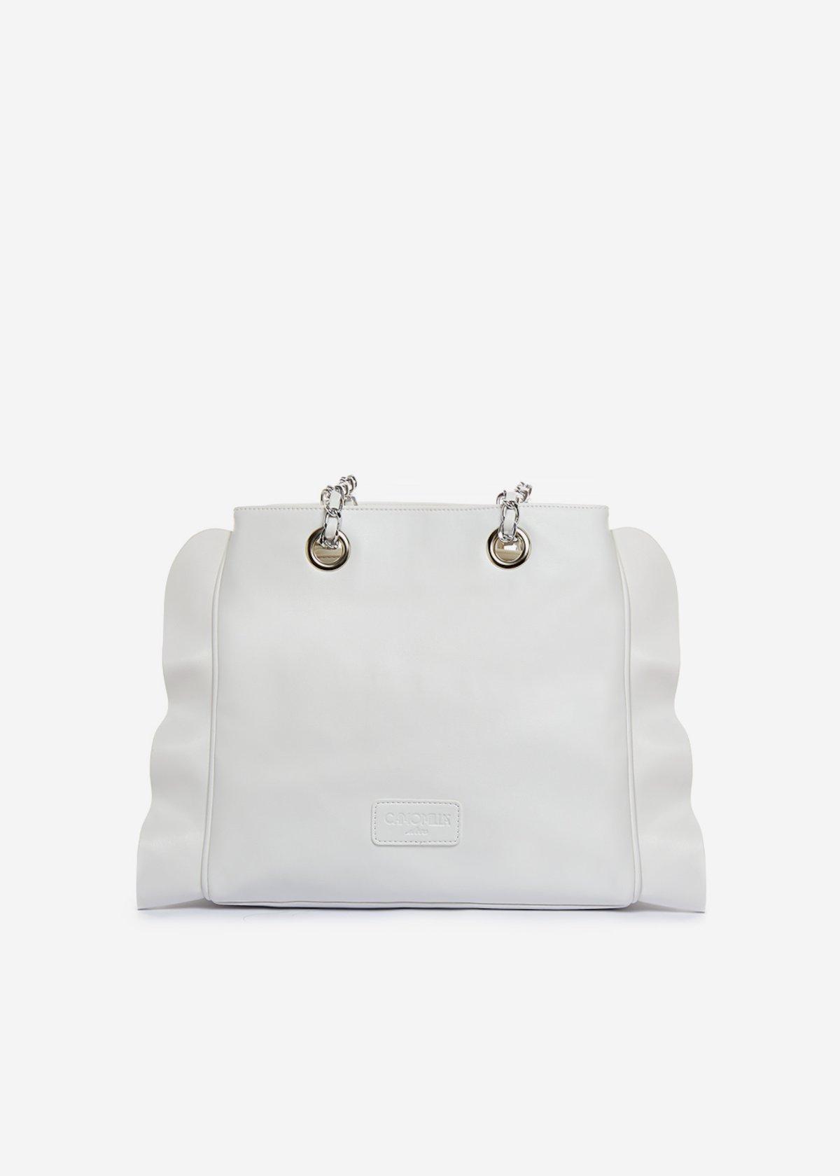 Besmira bag ruffle effect white - Bianco