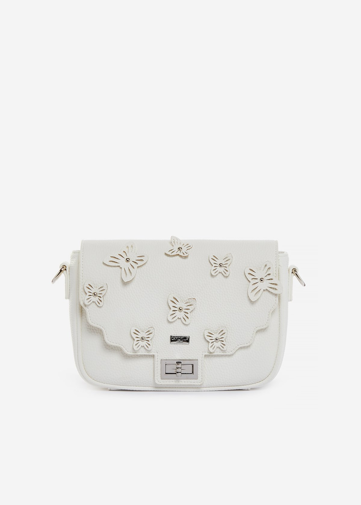 Handbag Brigitte in ecopelle con decoro farfalle - White