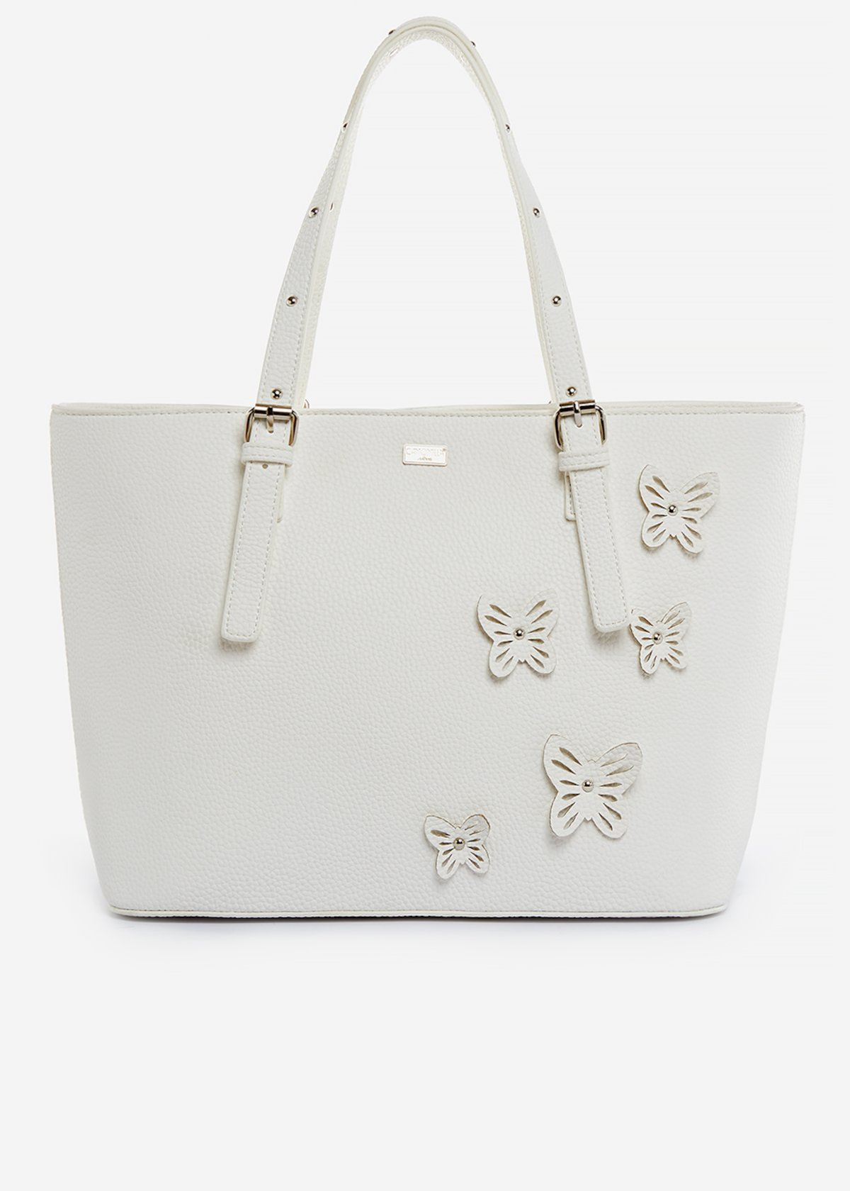 Shopping bag Brenda in ecopelle con butterfly details - White