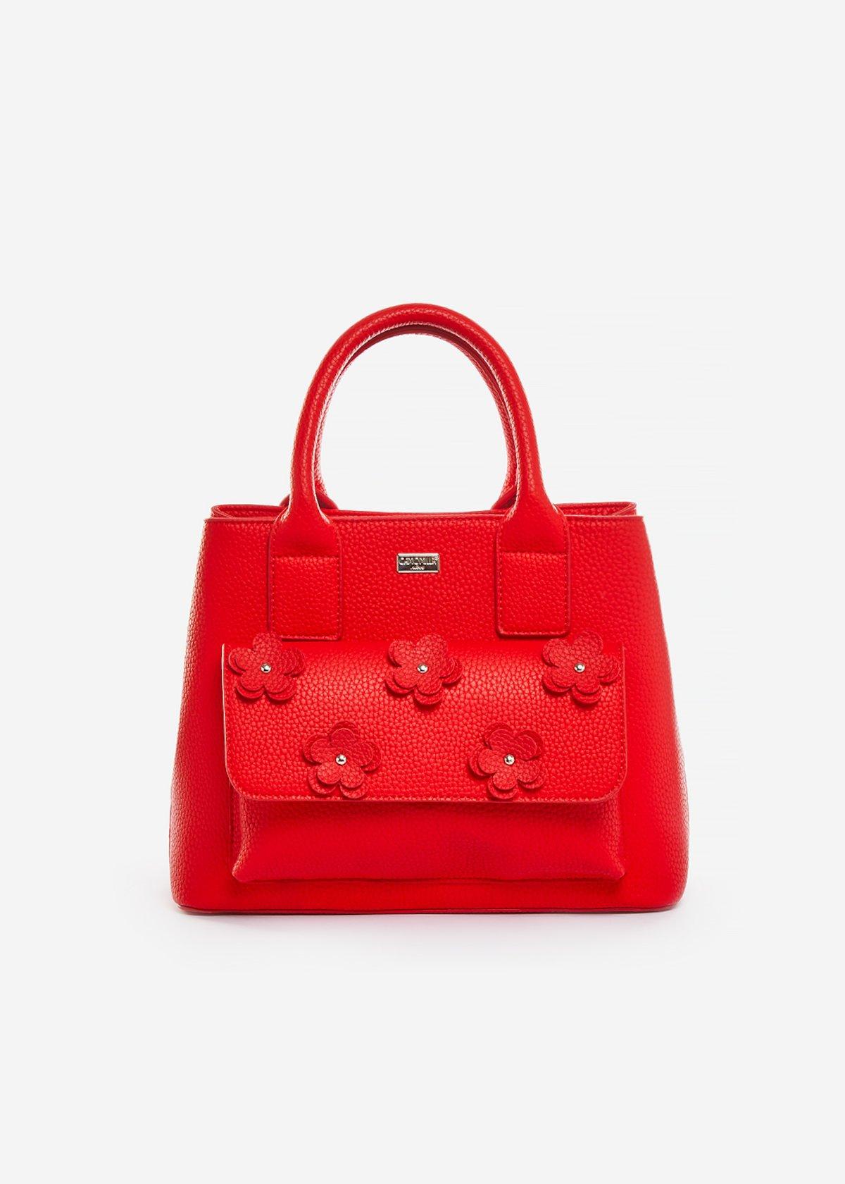 Shopping bag Beatris in ecopelle con dettaglio flowers - Poppy