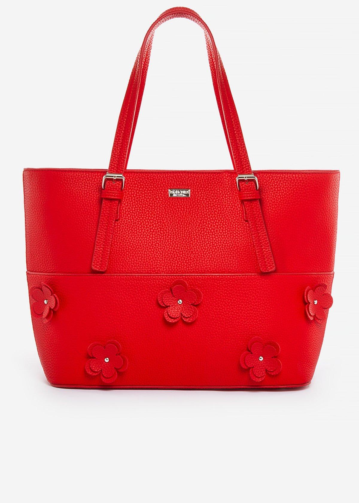 Shopping bag Belle in ecopelle con flowers details - Poppy