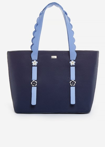 Berenice faux leather shopping bag with flowers detail