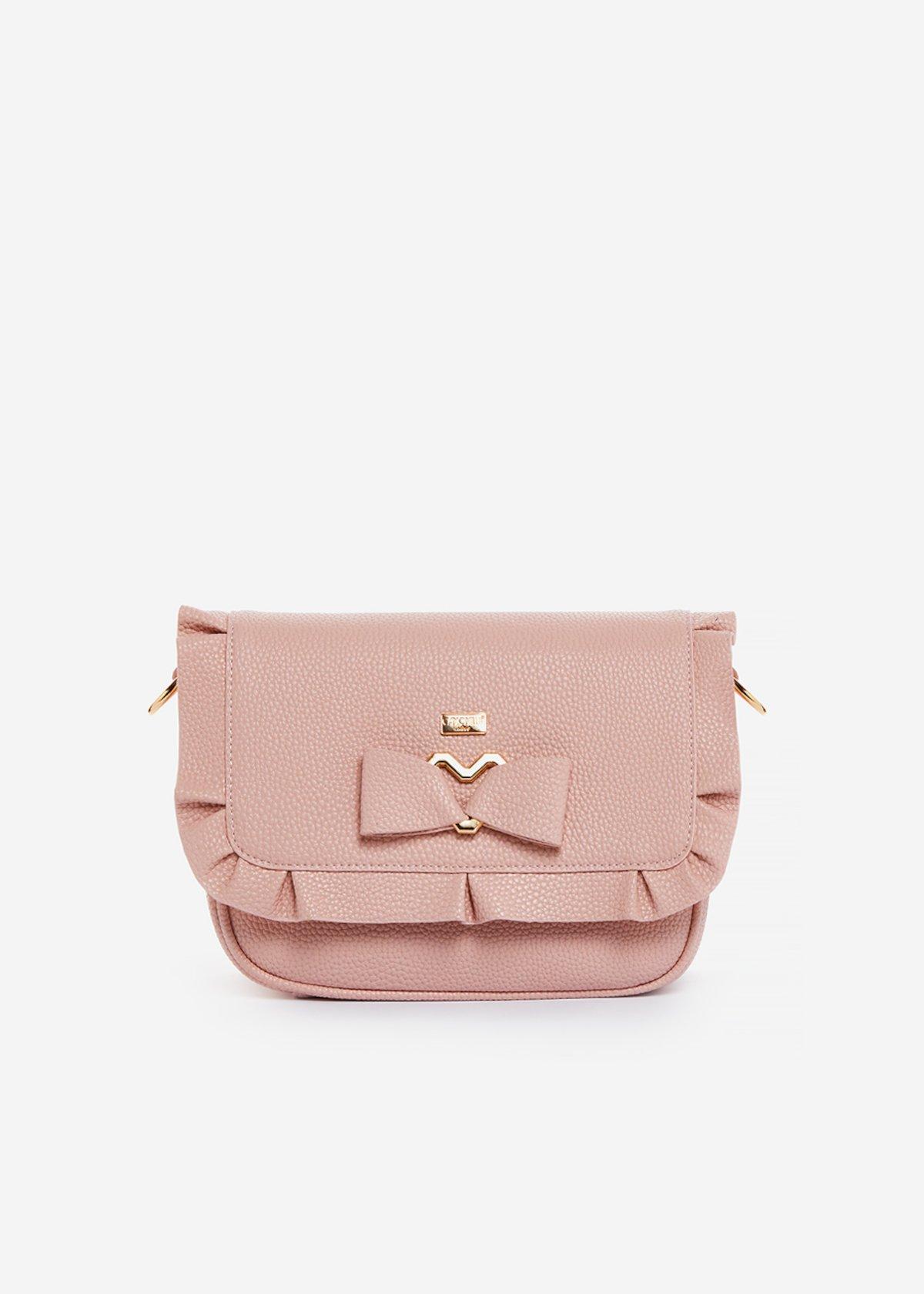 Small handbag Basilia in ecopelle con dettaglio fiocco e rouches - Magnolia