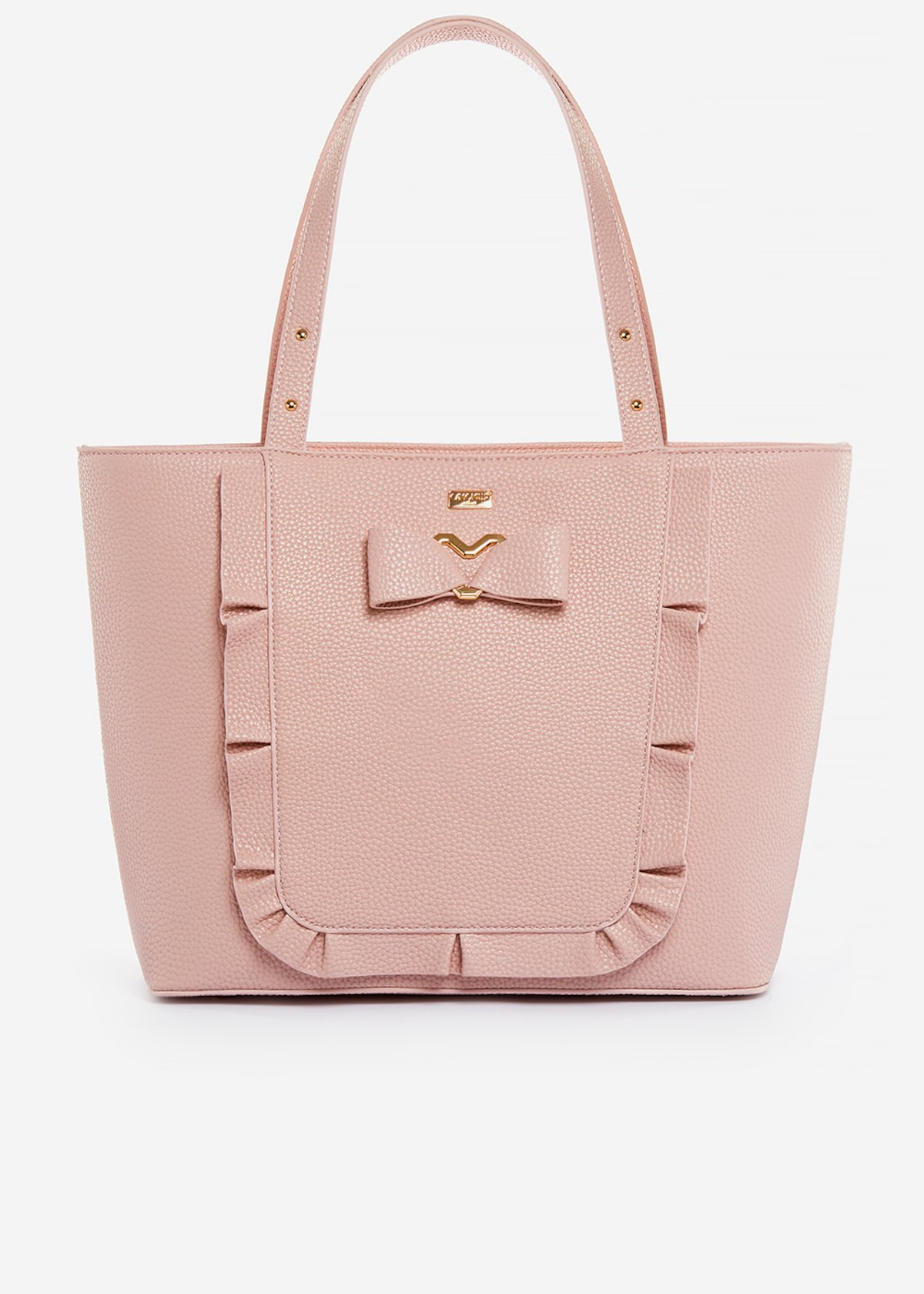 Faux-leather Briseide shopping bag with bow and ruffles. - magnolia