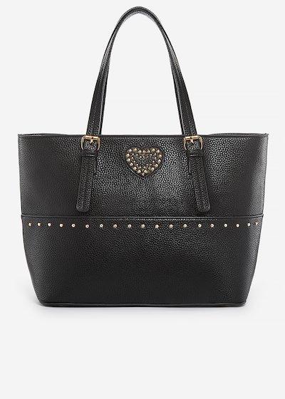 Shopping bag Brina in ecopelle con dettaglio cuore di perle