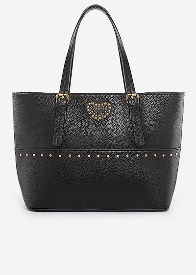 Brina faux leather shopping bag with heart of pearls detail
