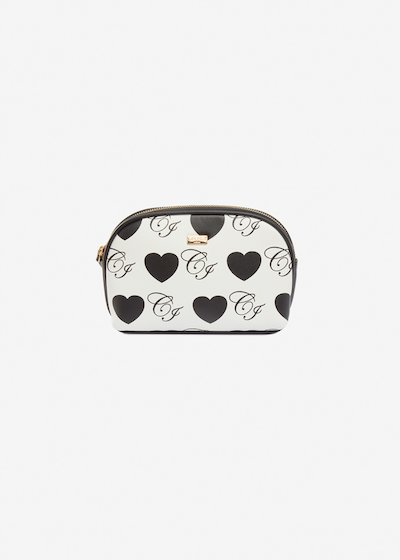 Bertrada faux-leather beauty case with hearts print