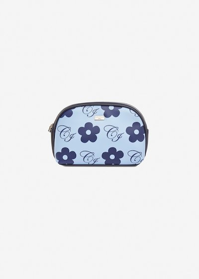 Brittany faux-leather beauty case with flowers print - Morning Medium Blue Fantasia