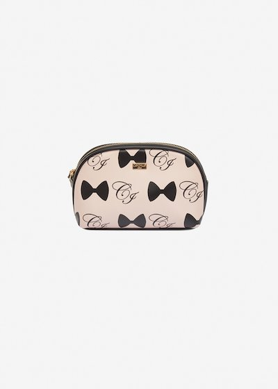 Berta faux-leather beauty case with bows print