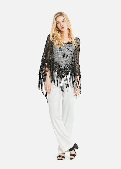 Calipso embroidery cape with fringes on the bottom